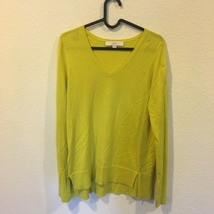 LOFT Sweaters - LOFT v neck lime green sweater